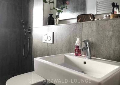 Schwarzwald-Ferienhaus Lohmühle: Das kleine Bad im Erdgeschoss mit Waschbecken, Dusche und Toilette