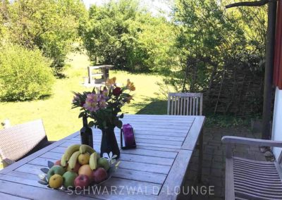 Ferienhaus Brestenberg: Die Sitzplätze mit Bank und Stühlen draußen hinter dem Haus