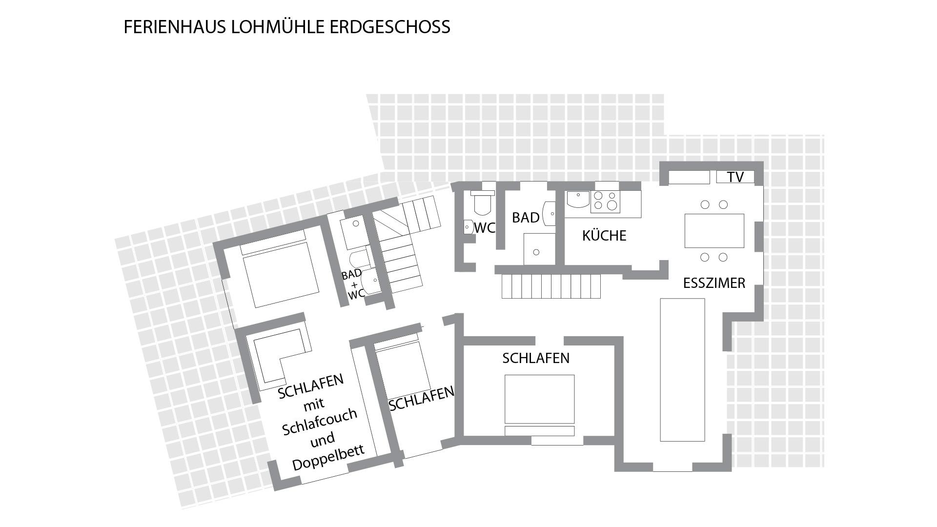 Grundriss für das Erdgeschoss im Schwarzwald-Haus Lohmühle
