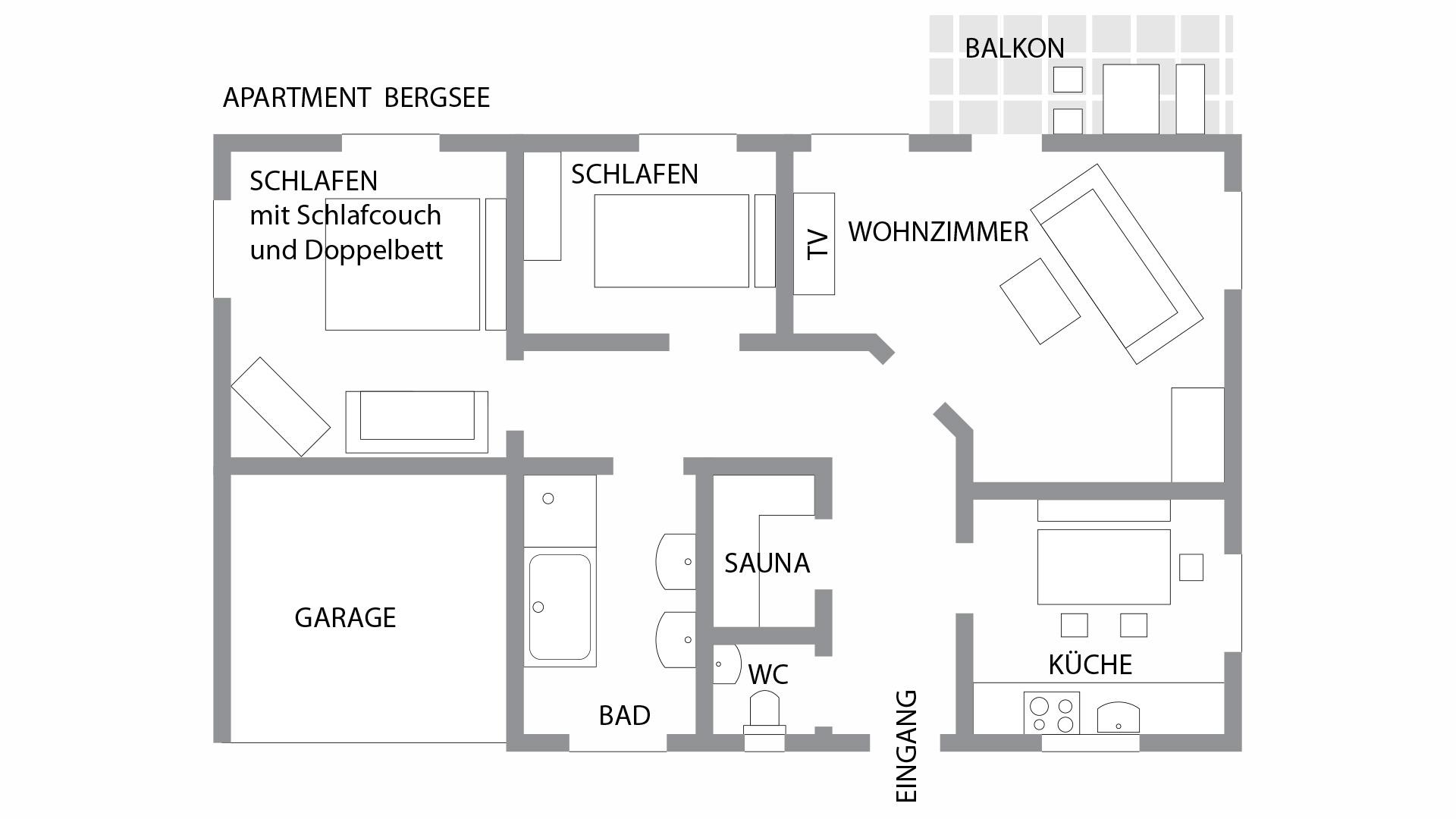 Grundriss der Luxus-Ferienwohnung Bergsee