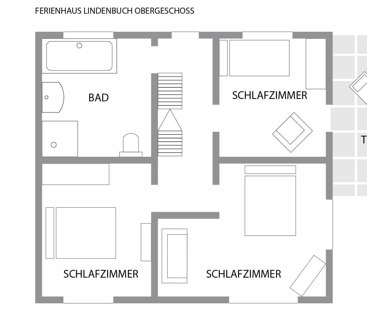 Grundriss Obergeschoss Ferien-Chalet Lindenbuch