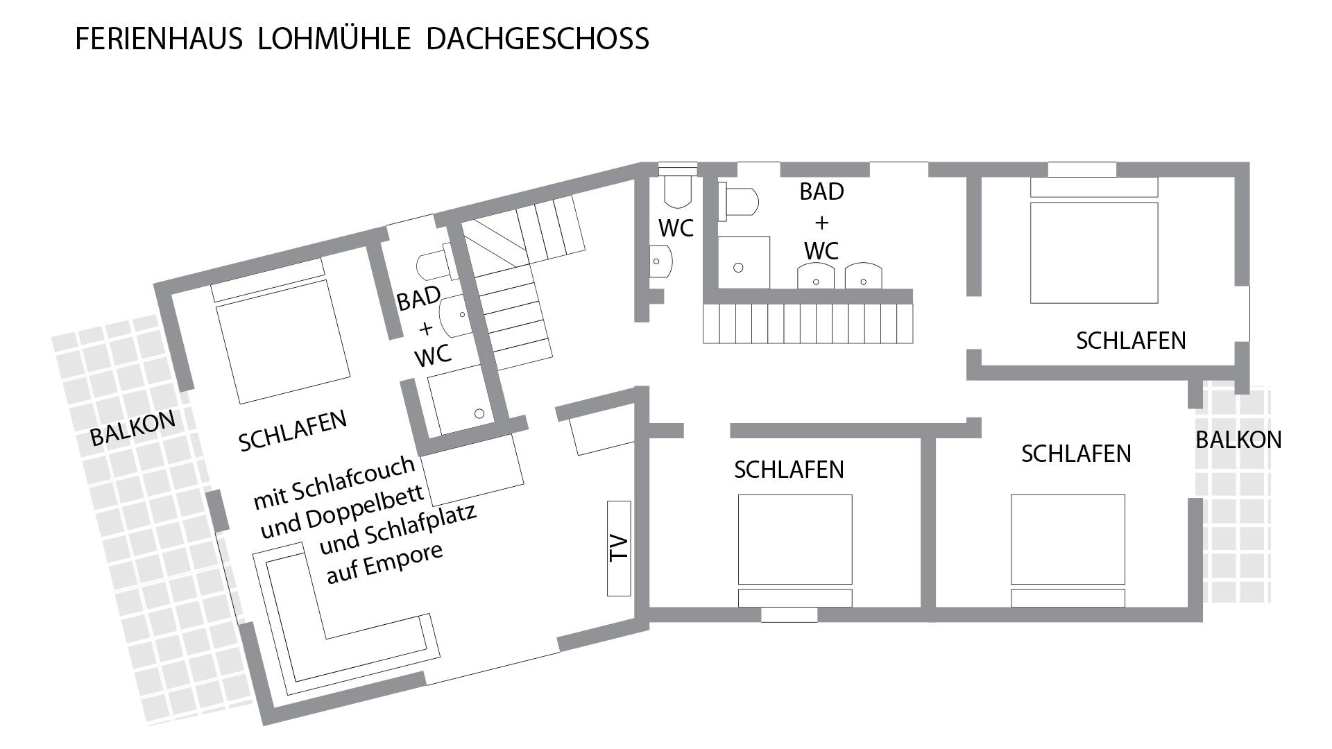 Grundriss für das Obergeschoss im Schwarzwald-Haus Lohmühle