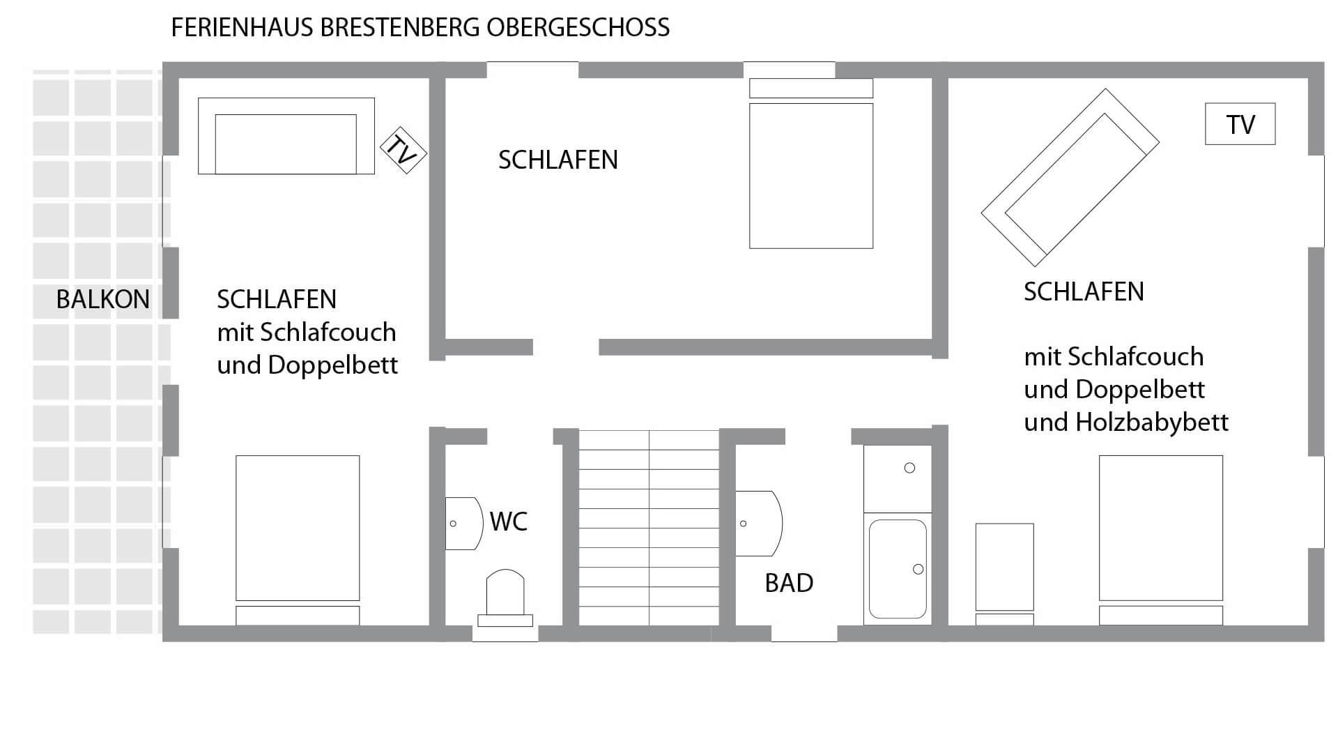 Grundriss des ersten Obergeschosses im Schwarzwald-Ferienhaus Brestenberg mit drei Schlafzimmern, einem Bad und einem separaten WC