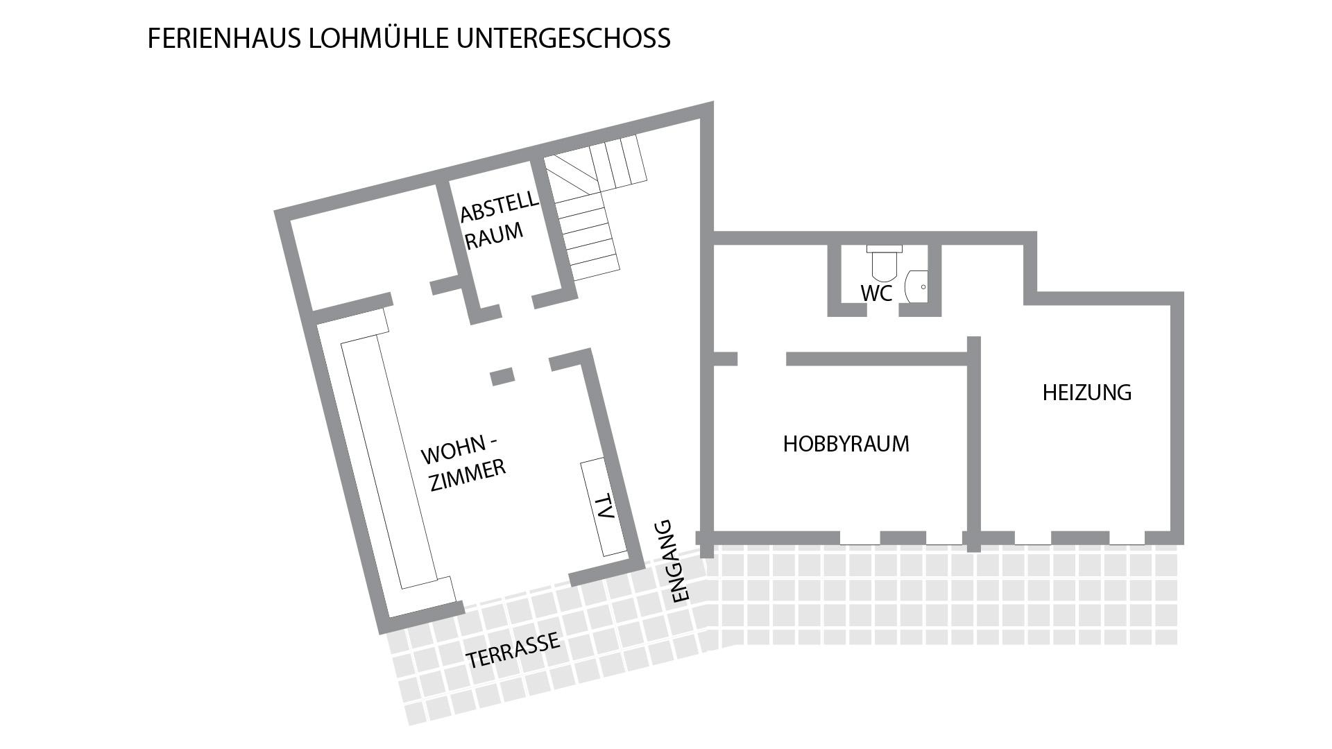 Grundriss für das Untergeschoss im Schwarzwald-Haus Lohmühle
