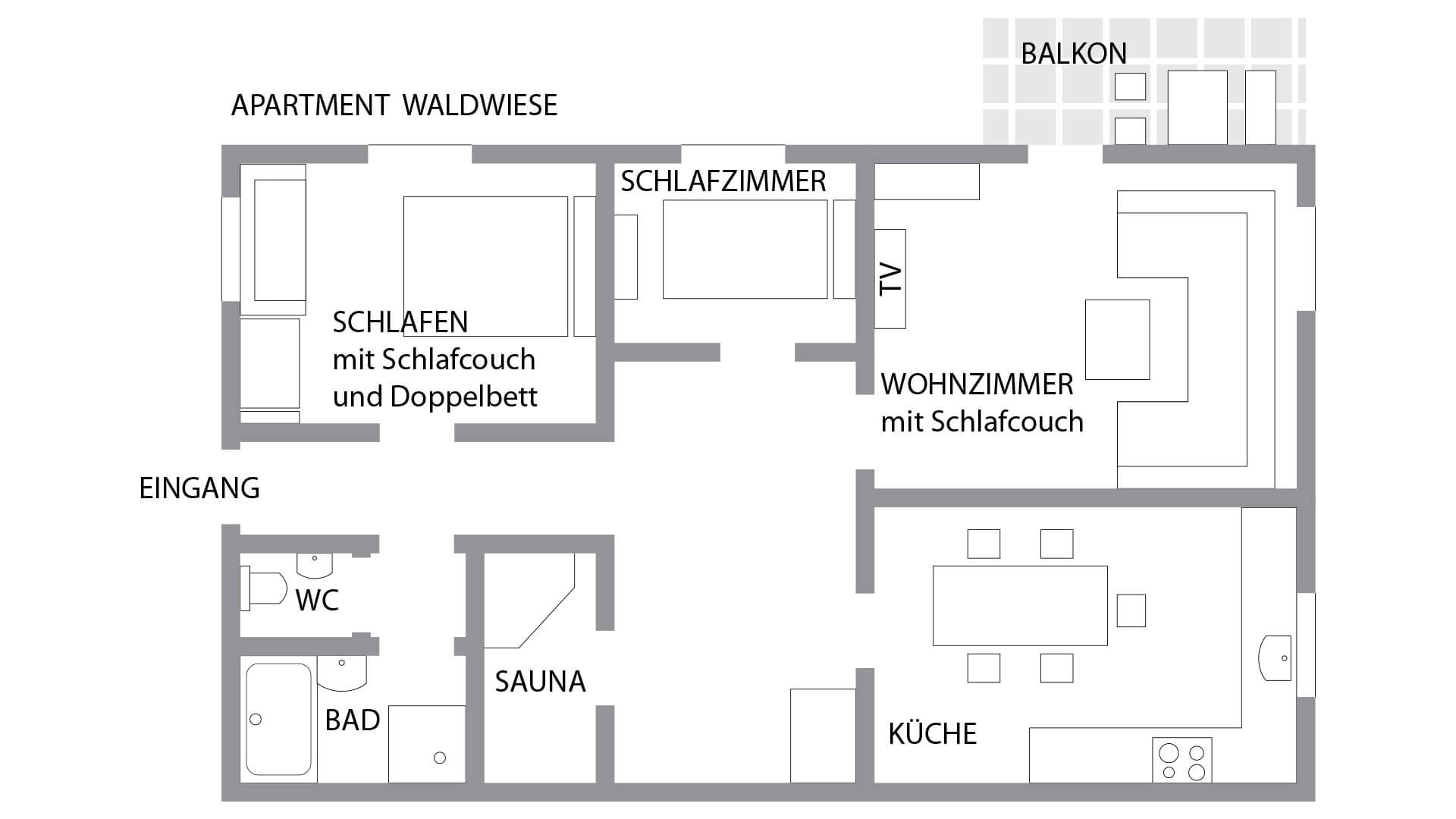 Grundriss des Wellness-Apartments Waldwiese