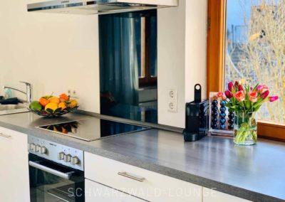 Luxus-Ferienwohnung Bergsee: Die Küchenzeile mit Ceran-Kochfeld und Abzugshaube