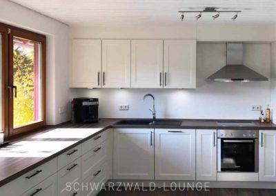 Ferienhaus Brestenberg: Die Küche mit Ofen und Dunstabzugshaube