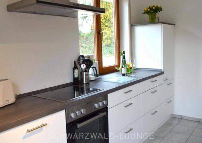 Luxus-Ferienwohnung Bergsee: Die Küchenzeile mit Fenster, Ceran-Kochfeld und Kühlschrank