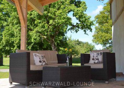 Chalet Lindenbuch: Die überdachte Terrasse mit der gemütlichen Sitzgruppe mit Blick auf Garten, Wiesen und Bäume