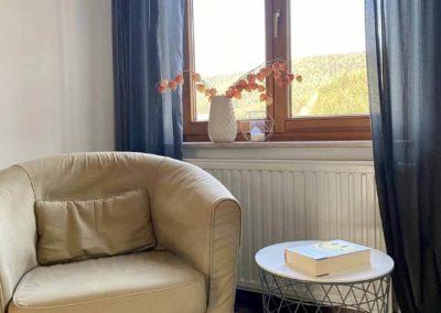 Luxus-Ferienwohnung Bergsee: Die Leseecke im Wohnzimmer mit Blick aus dem Fenster
