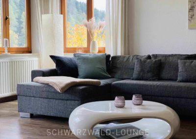 Wellness-Apartment Waldwiese: Wohnzimmer mit Sitzlandschaft, Couchtisch und Fenstern im Ausschnitt