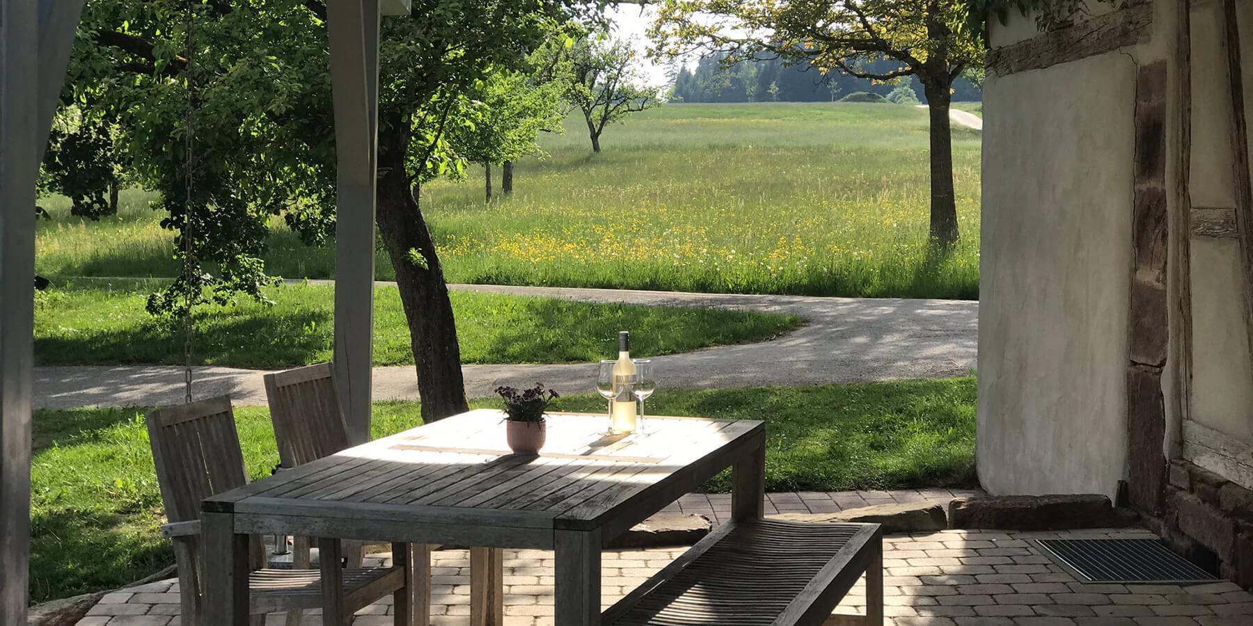 Terasse am Ferienhaus Lindenbuch von Schwarzwald-Lounge